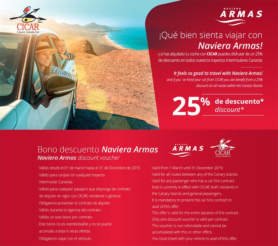 25% Descuento en Naviera Armas alquilando con Cicar