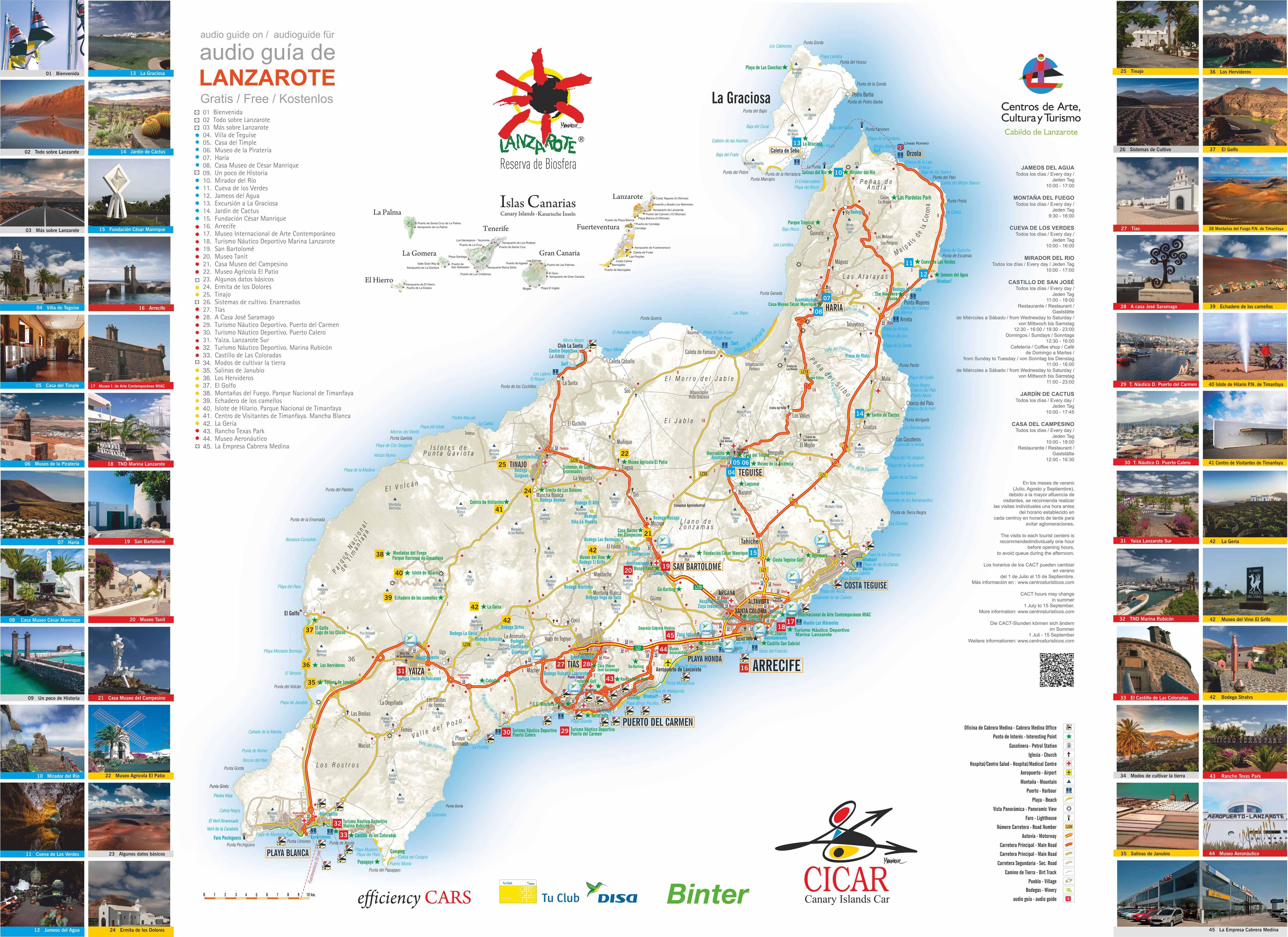 Isla De Lanzarote Mapa.Mapas De Las Islas Canarias Cicar